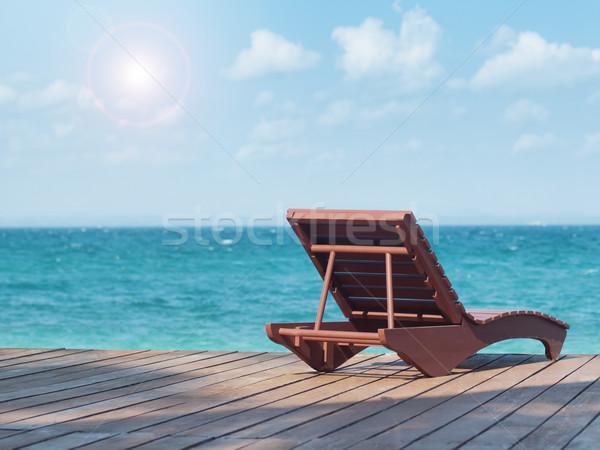 Plaj başvurmak boş şezlong karşı güney Stok fotoğraf © ldambies