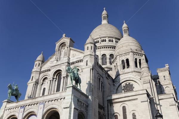 Bazilika Paris montmartre mavi gökyüzü kilise Stok fotoğraf © ldambies