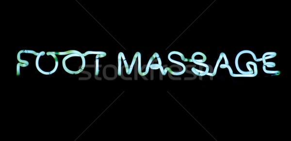 Pied massage signe bleu enseigne au néon noir Photo stock © ldambies
