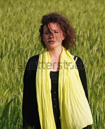 Mulher cevada campo foto atraente francês Foto stock © ldambies