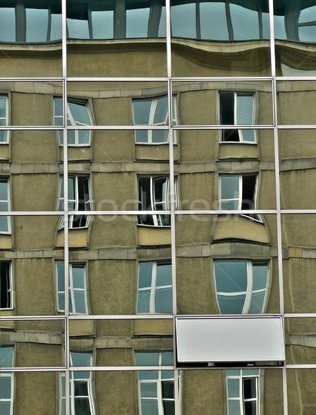 Fenêtres réflexions réflexion bâtiment de verre Varsovie bâtiment Photo stock © ldambies