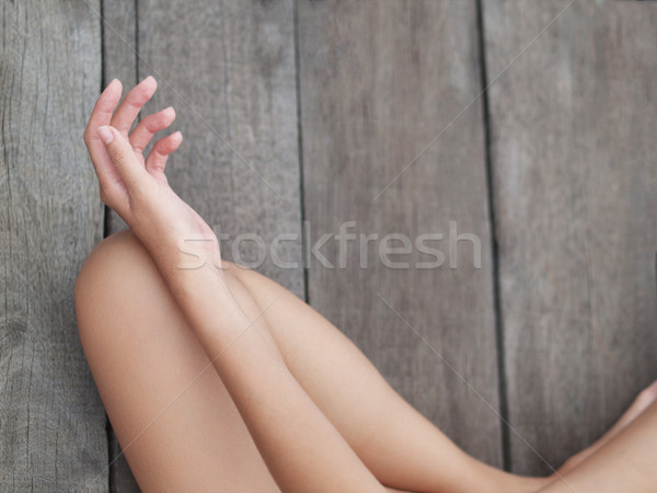 ül meditáció felső kilátás fiatal nő meditál Stock fotó © ldambies