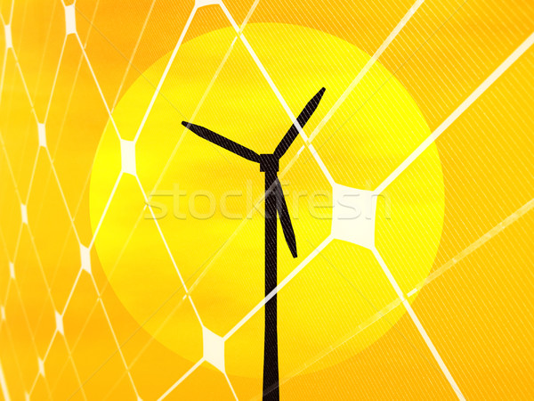 Wind turbine and sun Stock photo © ldambies