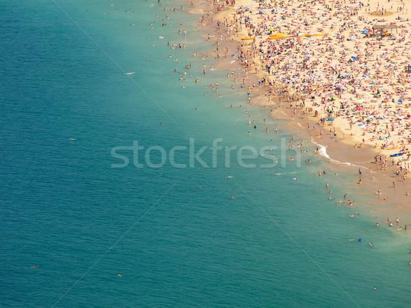 Kalabalık plaj kıyı manzara okyanus erkekler Stok fotoğraf © ldambies