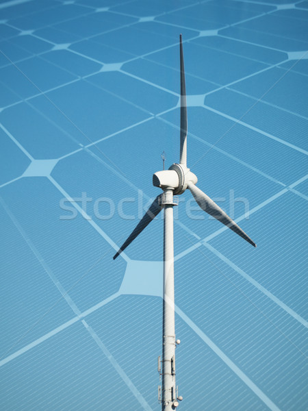 Duurzaam energie windturbine fotovoltaïsche paneel hemel Stockfoto © ldambies