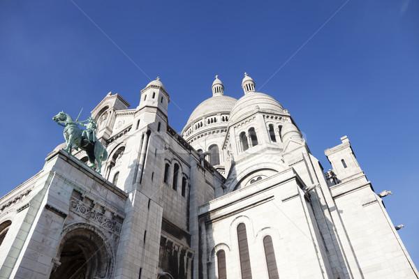 Bazilika Paris montmartre mavi gökyüzü gökyüzü Stok fotoğraf © ldambies