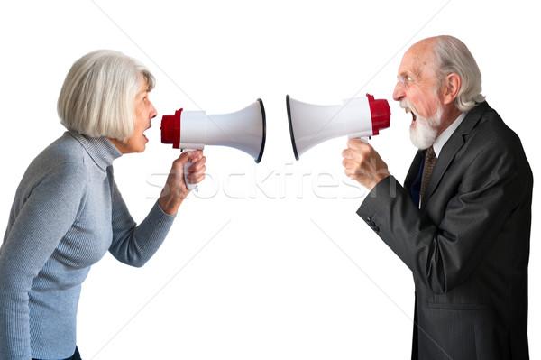 Stock photo: senior man and woman arguing