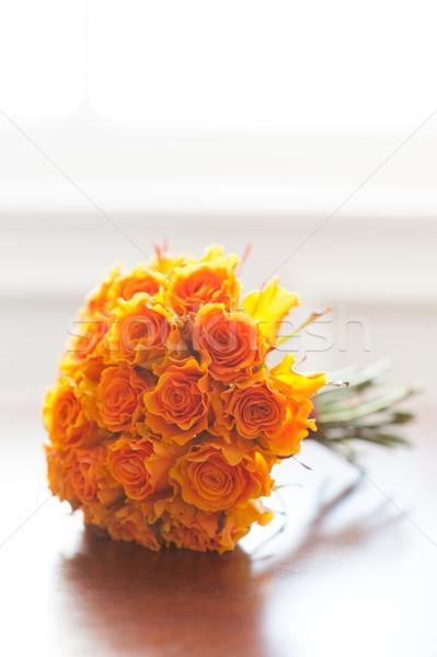 Сток-фото: оранжевый · роз · цветок · цветы · свадьба