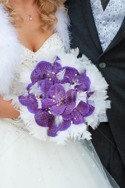 Esküvői csokor lila orchideák tollak Stock fotó © leeavison