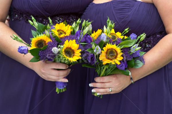Lila napraforgó ruhák nő esküvő virágcsokor Stock fotó © leeavison