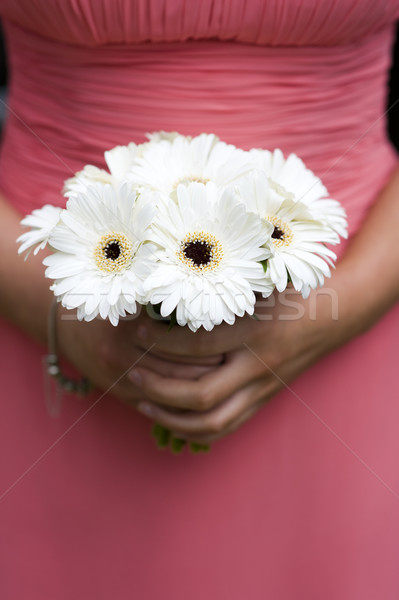 bridesmaid holding a bouquet of berbera Stock photo © leeavison
