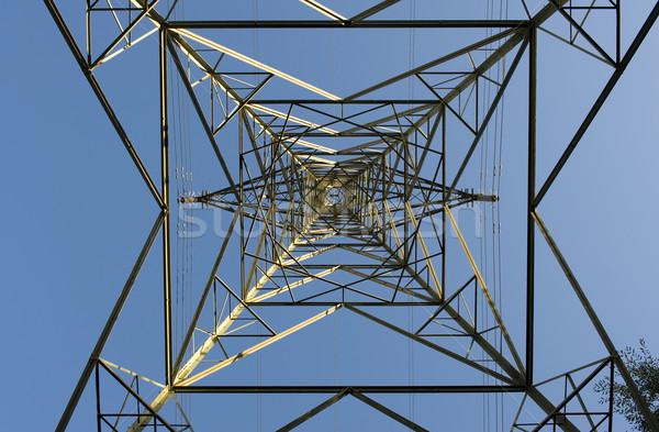 Electricidad simétrico cielo azul cielo metal Foto stock © leeavison