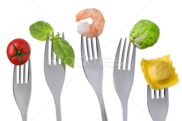 Alimentos saludables blanco grupos proteína carbohidrato frutas Foto stock © leeavison