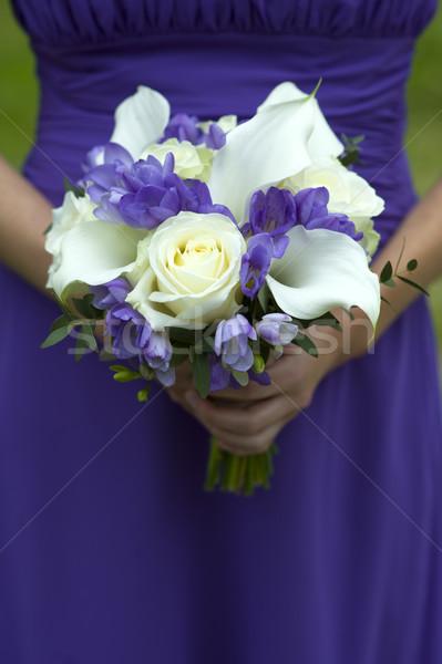 Dama de honor ramo de la boda uno púrpura mujer Foto stock © leeavison