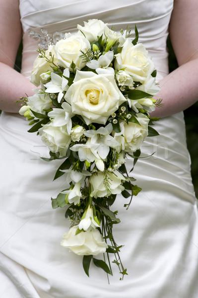Foto stock: Novia · ramo · de · la · boda · blanco · rosas · boda