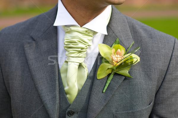 Stockfoto: Bruidegom · orchidee · knoopsgat · bruiloft · groene · bloem