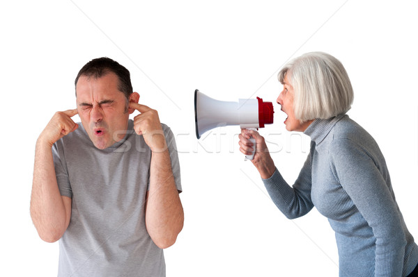 Férfi idős nő fehér család kommunikáció Stock fotó © leeavison