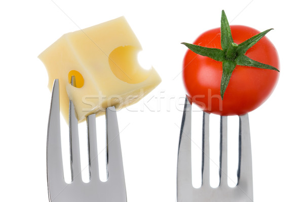 cheese and tomato on forks against white Stock photo © leeavison