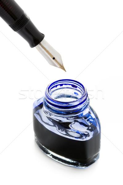Füllung Füller blau Tinte Stift Flasche Stock foto © leeavison