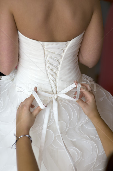 tying the bow on a wedding dress Stock photo © leeavison