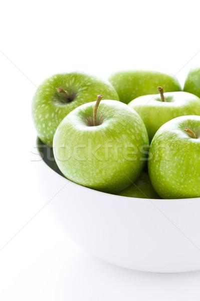Zöld nagyi almák friss fehér tál Stock fotó © leeavison