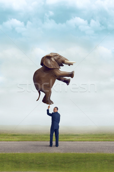businessman holding an elephant with one finger  Stock photo © leeavison