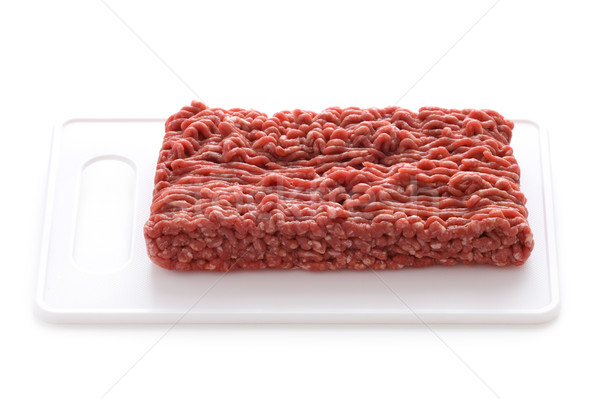 minced beef on a white chopping board isolated Stock photo © leeavison