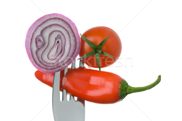 onion red chili pepper and tomato on a fork Stock photo © leeavison