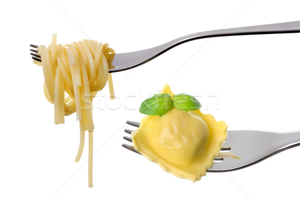 spaghetti and ravioli on forks white background Stock photo © leeavison