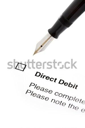Podpisania kierować debetowa formularza umowy odizolowany Zdjęcia stock © leeavison