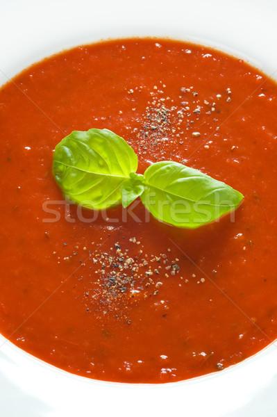 basil herb garnish on tomato sauce Stock photo © leeavison