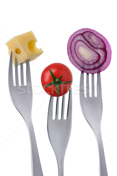 tomato cheese and onion on forks against white background Stock photo © leeavison