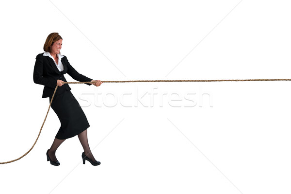 businesswoman tug of war isolated on white Stock photo © leeavison
