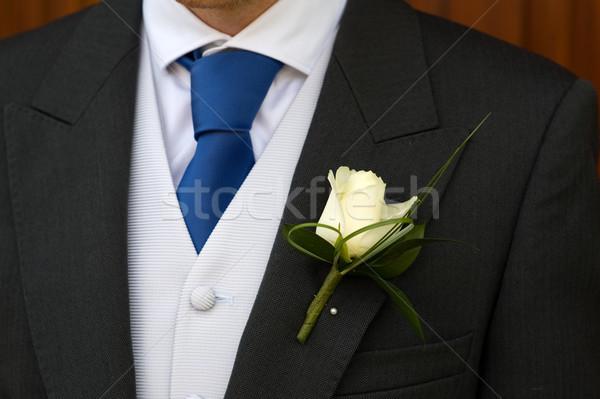 Bruidegom witte steeg knoopsgat bruiloft Stockfoto © leeavison