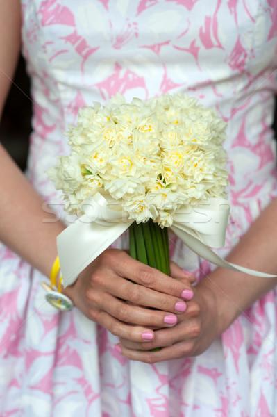 スイセン 結婚式のブーケ 花嫁介添人 ヴィンテージ ドレス 花 ストックフォト © leeavison