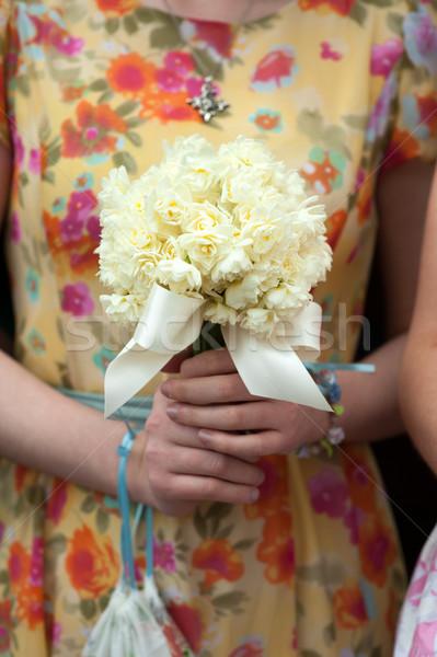 Foto stock: Narciso · ramo · de · la · boda · dama · de · honor · vintage · vestido · flores