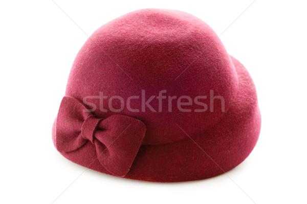 Piros klasszikus kalap izolált fehér Stock fotó © leeavison