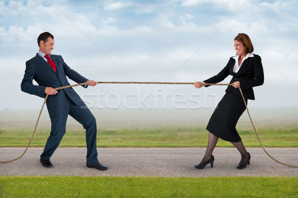 businessman and woman tug of war Stock photo © leeavison
