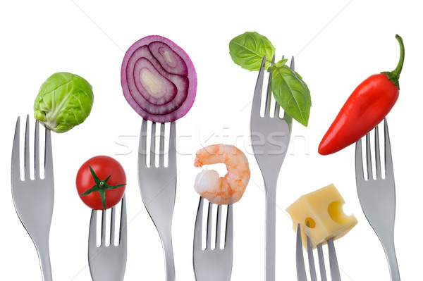 Egészséges kiegyensúlyozott étel fehér friss izolált Stock fotó © leeavison
