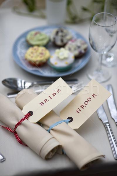 Menyasszony vőlegény asztal étel esküvő Stock fotó © leeavison