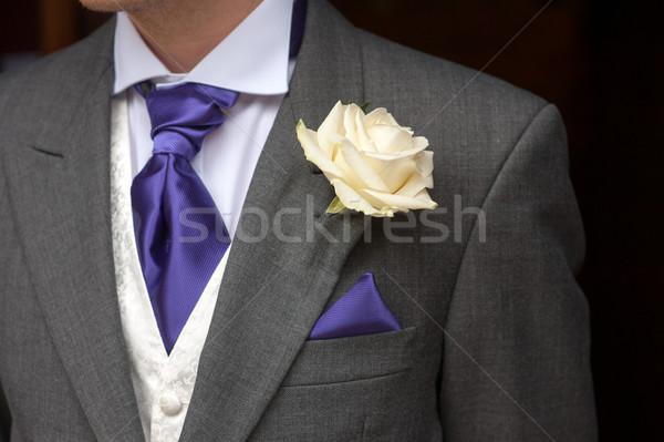 Stockfoto: Man · steeg · knoopsgat · bruiloft · bloemen