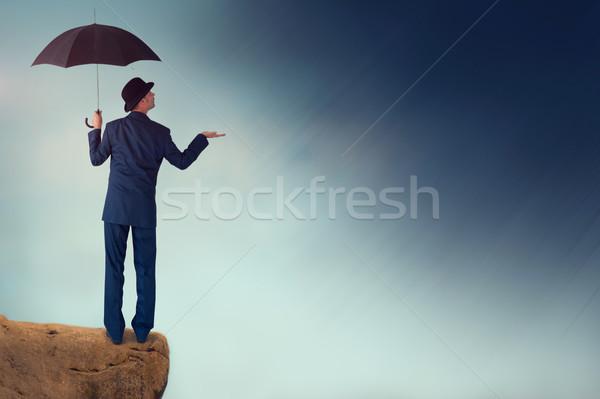 Ekonomiczny prognoza człowiek burzy czarny Zdjęcia stock © leeavison