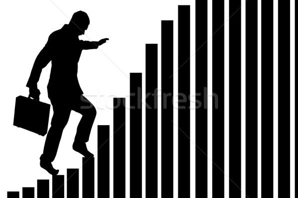 бизнесмен скалолазания гистограмма изолированный белый успешный Сток-фото © leeavison