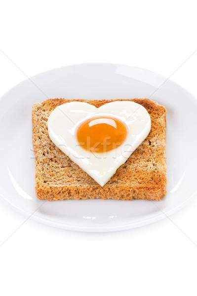 Stockfoto: Hart · ei · toast · gekookt · voedsel