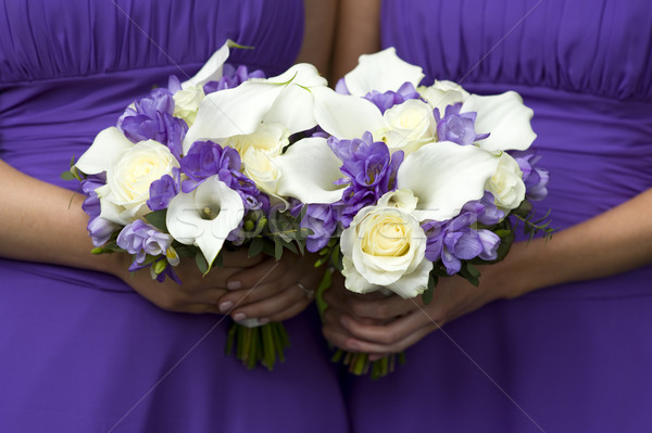 bridesmaids with wedding bouquets Stock photo © leeavison