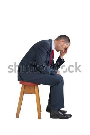 Deprimido empresario sentado aislado blanco negocios Foto stock © leeavison
