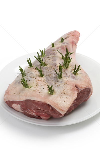 raw leg of lamb with rosemary and pepper Stock photo © leeavison