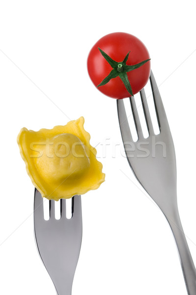 ravioli and tomato on forks Stock photo © leeavison