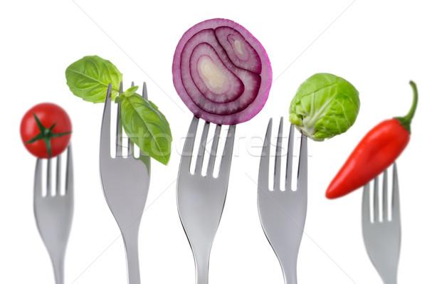 Stockfoto: Gezonde · vruchten · groenten · witte · vijf · verschillend