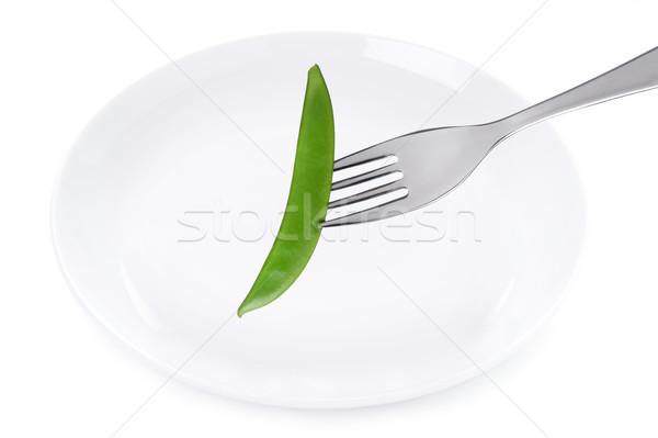 mange tout and plate isolated on white Stock photo © leeavison